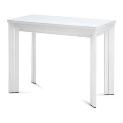 Domitalia - Mondo Rectangular Console Table - White Mat Lacquered Frame - White Glass Top - The Mondo Console/Dining Extension Table makes dining and entertaining possible in modern spaces, small and large. This modern console table expands into a large dining table, allowing dinner parties to spring forth in small living spaces. Possessing a sturdy steel frame and leaf extensions, the table expands up to 136.5in long and seats 10 people comfortably. When not entertaining, the Mondo collapses to 39in to free up floor space, and transitions to an accent piece which can be used in a hallway, living room or kitchen while lending to a range of modern aesthetics.