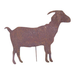 Rustica Ornamentals - Goat Garden Stake - This handcrafted Goat Garden Stake will be a fun piece to add to any yard. A decorative favorite to jazz up your garden decor.