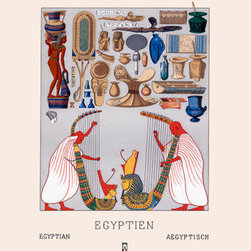 Buyenlarge - Egyptian Domestic Utensils and Two Large Harps 20x30 poster - Series: World Fashion - Racinet