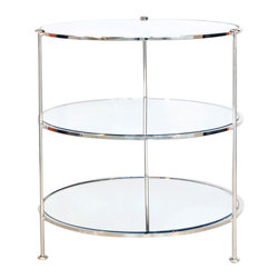 Worlds Away - Worlds Away 3-tier round nickel plated table with mirror shelves. - Worlds Away 3-tier round nickel plated table with mirror shelves.
