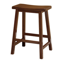 "Winsome Wood - Winsome Wood Saddle Seat 24 Inch Stool - Single - Contemporary Saddle Seat 24"" wood counter height stools in Antique Walnut finish. Solid wood construction of natural hardwood. Ships ready to assemble with all hardware and tools included. This new style seat is comfortable and sleek. Barstool (1)"