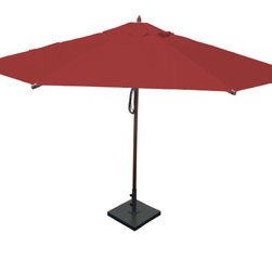 Greencorner - 13' Octagon Mahogany Umbrella, Jockey Red - 13' Octagon