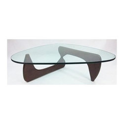 Fine Mod Imports - Tribeca Coffee Table - Contemporary style. Glass top. Two interlocking wooden base pieces. 0.59 in. tempered glass thickness. Warranty: One year. Dark walnut finish. Assembly required. 50 in. W x 36 in. D x 16 in. H (90 lbs.)This classic design was first produced in 1944.