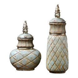 Deniz Containers - Set of 2 - A striking, elegant diamond-quilted texture pressed into the walls of the Deniz Containers is deepened and given antiquated sophistication by a seafoam crackle glaze, while the flourishes that frame their removable, silver-accented lids add splendor to an aged, well-loved look. One tall and cylindrical, one shorter and rounder, the two containers emphasize one another's proportions.