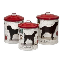 "IMAX CORPORATION - Dog Food Storage Canisters with Dog Images and Red lids - Set of 3 - Keep your dog treats fresh with these trendy dog food storage containers. Set of 3 canisters in varying sizes measuring approximately 15.5-17-19""H x 11.5-12.5-13.75""W x 11.5-12.5-13.75"" each. Shop home furnishings, decor, and accessories from Posh Urban Furnishings. Beautiful, stylish furniture and decor that will brighten your home instantly. Shop modern, traditional, vintage, and world designs."