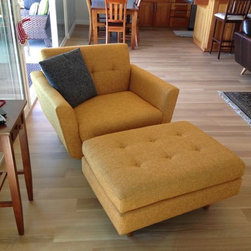 Nixon Chair and Ottoman - Thrive Furniture - Nixon Chairs & Nixon Ottoman in Cordova Amber