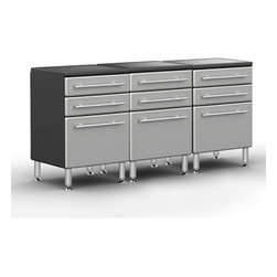 """Ultimate Garage - PRO 3-Drawer Base Cabinet Package - Unique Polyurethane Coated Cabinet Fronts in Silver on Strong 3/4"""" MDF. Full Radius Cabinet Profile for Custom Shop Styling and Reduced Sharp Edges. Strong 3/4"""" PB Cabinet Construction with Textured PVC Grey Laminate, Which Provides Stylish 2-Tone Color. Full Extension Ball Bearing Drawer Glides with 100 lb Weight Load Rating. Jumbo Brushed Chrome Cabinet Handles Double as Shop Towel holder. 6"""" Adjustable Aluminum Feet for Uneven Surfaces. Strong 1.25"""" Thick MDF Integrated Recesssed Worktop Surface.Get cabinet mobile by adding our heavy duty 6"""" Rolling/Locking Caster set model GA-RCS14 sold separately. Add 6' Solifd Bamboo Worktop Surface Model GA-10BB for the tdream work station sold separately."""