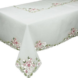 Xia Home Fashions - Fairy Garden Sheer Embroidered Cutwork 60-Inch By 84-Inch Tablecloth - Embroidered flowers adorn this delicately beautiful cutwork sheer linens collection. Lovely as an everyday accent and great for tea time!.