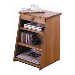 Manchester Wood - Periodical End Table - Features: -Features a drawer to store writing instruments, glasses or TV remote and bottom shelves for newspapers and CDs.-Fits in any type room decor.-Periodic style.-Made in USA.-Solid ash construction.-Stain resistant lacquer finish.-Distressed: No.-Powder Coated Finish: No.-Gloss Finish: No.-Base Material: Solid wood.-Top Material: Solid wood.-Inlay Material: Solid wood.-Solid Wood Construction: Yes.-Number of Items Included: 1.-Nesting Tables: No.-UV Resistant: No.-Scratch Resistant: Yes.-Stain Resistant: Yes.-Drawers Included: Yes -Number of Drawers: 1.-Drawer Glide Material: Wood.-Ball Bearing Glides: No.-Soft Close Drawer Glides: No.-Safety Stop : Yes.-Drawer Handle Design: Knob..-Exterior Shelves: Yes -Number of Exterior Shelves: 3.-Adjustable Exterior Shelves: No..-Cabinets Included: No.-Glass Component: No.-Casters: No.-Lighted: No.-Reclaimed Wood: No.-Adjustable Height: No.-Outdoor Use: No.-Swatch Available: Yes.-Commercial Use: Yes.-Recycled Content: No.-Eco-Friendly: Yes.-Product Care: Dust as needed with soft cloth. Clean with damp cloth and mild solution of dish soap. Polish with soft cloth and polish that contains no pigment or silicone.-Country of Manufacture: United States.-Built In Outlets: No.-Powered: No.Specifications: -FSC Certified: No.-EPP Compliant: No.Dimensions: -Overall Height - Top to Bottom: 24.-Overall Width - Side to Side: 19.25.-Overall Depth - Front to Back: 16.-Table Top Thickness: 0.5.-Table Top Width - Side to Side: 22.-Overall Product Weight: 37.-Shelving: -Shelf Height - Top to Bottom: 6.75.-Shelf Width - Side to Side: 16.-Shelf Depth - Front to Back: 15..-Legs: No.-Table Top Depth - Front to Back: 16.Assembly: -Assembly Required: Yes.-Tools Needed: Screwdriver, hammer.-Additional Parts Required: No.Warranty: -Product Warranty: Free of manfacturing defects at time of shipment.