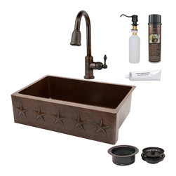 "Premier Copper Products - 33"" Kitchen Apron Star Sink w/ ORB Faucet - PACKAGE INCLUDES:"
