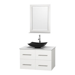 "Wyndham Collection - Centra 36"" White Single Vanity, White Man-Made Stone Top, Black Granite Sink - Simplicity and elegance combine in the perfect lines of the Centra vanity by the Wyndham Collection. If cutting-edge contemporary design is your style then the Centra vanity is for you - modern, chic and built to last a lifetime. Available with green glass, pure white man-made stone, ivory marble or white carrera marble counters, with stunning vessel or undermount sink(s) and matching mirror(s). Featuring soft close door hinges, drawer glides, and meticulously finished with brushed chrome hardware. The attention to detail on this beautiful vanity is second to none."