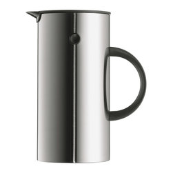 Press Stainless Steel Coffee Maker - Erik Magnussen's classic vacuum jug is now available in an updated version with a new function. Designed for Stelton in 1977, the prize-winning jug now comes as a press coffee maker in four different finishes - steel, black, white or red plastic.