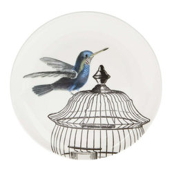 White Caged Hummingbird Side Plate