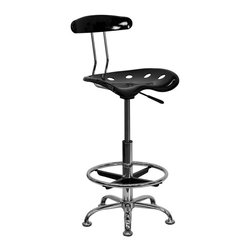 Flash Furniture - Vibrant Black And Chrome Drafting Stool With Tractor Seat - Quality chair at an amazingly affordable price! This sleek, modern stool conforms to several areas in the home or office. The molded tractor seat offers great comfort. The height adjustable capability of this stool allows you to use the stool at the dining table and bar table and anywhere in between.
