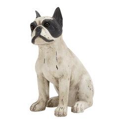 Superb Unique Styled Polystone Sitting Dog - Description: