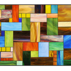 """Contemporary Stained Glass Wall Art - A contemporary piece created vivid opalescent stained glass and grouted. It is titled """"Glass Quilt"""" The pictured piece is 36"""" x 60"""" however, custom sizes are available on request."""