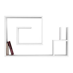 Matte/ Decortie - SALYANGOZ WALL SHELF, White - Simple and effective, this wall mountable bookcase makes an attractive feature for the living room, hallway or bedroom, boasting a maze like shelf structure and compartment to neatly display your books, art and objet.
