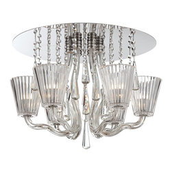 """Eurofase - Corato Collection 21 1/4"""" Wide Clear Crystal Ceiling Light - Make a bold statement with this glamorous ceiling light that features a gleaming mirrored canopy. Hand-blown glass arms support clear crystal shades while strands of crystals fall elegantly and offer additional shine. Completely chic this stunning design adds a contemporary look. From the Corato Collection by Eurofase Lighting. Clear crystal shades. Hand-blown glass arms. Mirrored finish. Crystal strands. Includes six 40 watt G9 bulbs. Rated for damp locations. 21 1/4"""" wide. 15 1/4"""" high.   Clear crystal shades.  Hand-blown glass arms.  Mirrored finish.  Crystal strands.  Includes six 40 watt G9 bulbs.  Rated for damp locations.  21 1/4"""" wide.  15 1/4"""" high."""