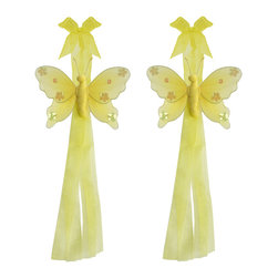 "Bugs-n-Blooms - Butterfly Tie Backs Yellow Jewel Nylon Butterflies Tieback Pair Set Decorations - Window Curtains Holder Holders Tie Backs to Decorate for a Baby Nursery Bedroom, Girls Room Wall Decor - 5""W x 4""H Jewel Curtain Tieback Set Butterfly 2pc Pair - Beautiful window curtains tie backs for kids room decor, baby decoration, childrens decorations. Ideal for Baby Nursery Kids Bedroom Girls Room.  This gorgeous butterfly tieback set is embellished with sequins and glitter.  This pretty butterfly decoration is made with a soft bendable wire frame & have color match trails of organza ribbons.  Has 2 thick organza ribbons to wrap around the curtains; or simply remove & add your own ribbon for a personal & custom look.  Visit our store for more great items. Additional styles are available in various colors, please see store for details. Please visit our store on 'How To Hang' for tips and suggestions. Please note: Sizes are approximate and are handmade and variances may occur. Price is for one pair (2 piece)"