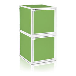 Way Basics - BOX (2 cubes), Green - Box will easily stack, connect and align to create your perfect organizer! Form a 2-tiered nightstand or a side by side double cubby and accessorize with a door to hide that inevitable clutter. The simple, modern design of the Bo will complement and adorn any room.