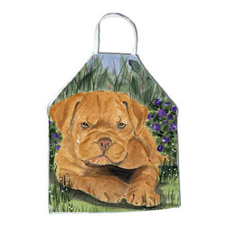Caroline's Treasures - Dogue de Bordeaux Apron - Apron, Bib Style, 27 in H x 31 in W; 100 percent  Ultra Spun Poly, White, braided nylon tie straps, sewn cloth neckband. These bib style aprons are not just for cooking - they are also great for cleaning, gardening, art projects, and other activities, too!