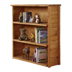 Chelsea Home - 3-Shelf Open Bookcase - Rustic style. Constructed for strength and durability. Warranty: One year. Made from solid pine wood. Ginger stain finish. Made in USA. No assembly required. 43 in. W x 16 in. D x 49 in. H (110 lbs.)