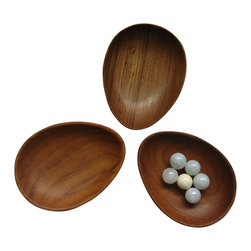 Bahari - Teak Wood Condiment Dish, Egg Shape Set of 3 - Teak Wood Condiment Dish, Egg Shape.  3 piece/set.  Clean with warm cloth and dry immediately.  Apply oil regularly is recommended.
