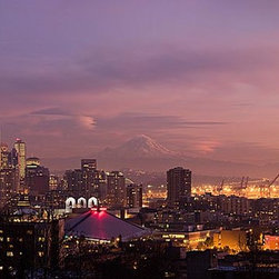 Magic Murals - Seattle Cityscape at Night Panorama Wall Mural -- Self-Adhesive Wallpaper by Mag - The iconic Space Needle is visible in the left and Puget Sound is visible in the right of this night time panoramic view of Seattle, Washington.  The sun has just set and the sky is colored purple, red and pink to gold.
