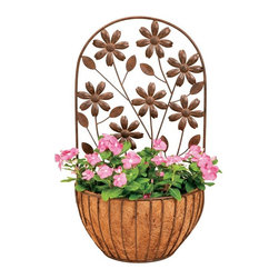 Deer Park Ironworks - Deer Park Ironworks Floral Wall Planter with Coco Liner - WB148 - Shop for Planters and Pottery from Hayneedle.com! Add beauty and interest to your home with the fun beautiful and whimsical Deer Park Ironworks Floral Wall Planter with Coco Liner. Detailed flowers climb up the back adding depth and showing off the vibrancy of your favorite flowers. Its fitted coco liner is ideal for nourishing plants while the durable heavy gauge metal construction of the wall planter is made to last. It's beautiful natural patina appearance complements any decor or color scheme so you can use this planter in the front or back of your home.About Deer Park Ironworks LLCYou'll immediately recognize a yard that's been appointed with pieces from Deer Park thanks to the classic wrought iron designs and traditional finish that has made them an power player in the outdoor furniture industry. Dedicated to creating value for their customers with durable quality pieces of functional and ornamental wrought iron Deer Park continues to provide timeless designs while never sacrificing customer service and satisfaction as their pursue their corporate goals.