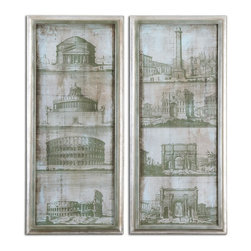 Architectural Survey Wall Art S/2 - *Frame Has A Champagne Silver Leaf Finish With A Light Brown And Black Wash