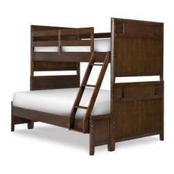 Twilight Twin over Full Bunk Bed - Boys will be boys but the Twilight Twin over Full Bunk Bed makes the fight for top bunk a pleasant compromise. Whoever gets top bunk well they get the pride that comes with top bunk but whoever sleeps below gets the comfort of a bigger bed! This handsome bunk bed is crafted from the strongest select hardwoods with a walnut veneer coated in a dark chestnut finish that perfectly complements the layered panels of the head and footboards. Whoever races up the sturdy ladder to top bunk first can sleep peacefully and so can his parents thanks to guard rails designed to keep even the most restless sleepers from rolling off. But the most important thing to note about these bedroom furnishings is the option of a trundle. This hidden trundle offers 3 extra large storage compartments perfect for toys bed linens and much more. Bunk beds are great for saving space so kids can get more play area for activities; the optional trundle reinforces that benefit and makes a wonderful addition to this stunning bedroom piece. Optional Bedroom Furniture Dimensions: Trundle: 75L x 41W x 10H inches We take your family's safety seriously. That's why all of our bunk beds come with a bunkie board slat pack or metal grid support system. These provide complete mattress support and secure the mattress within the bunk bed frame. Please note: Bunk beds and loft beds are only to be used by children 6 years of age or older. About Magnussen Bunk BedsFrom its beginning as a small furniture company in Ontario Canada Magnussen Furniture has evolved into a full-line furniture resource with offices in Canada the United States and the Far East. Their business is creating furniture designs of exceptional style value and beauty. They produce these designs in partnership with manufacturing partners around the world that meet exacting standards for superior quality at the best possible value.