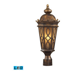 Elk Lighting - Burlington Junction LED 2-Light Post Light in Hazelnut Bronze - Located on the eastern shore of lake champlain between the adirondack and green mountains, burlington is charming and idyllic. This series was inspired by this quaint city by the lake that prides itself in the arts. The fine craftsmanship of this collection is evident in the cast aluminum details and scrollwork. This series is available with two glass options; a clear seeded glass or amber scavo glass. - LED, 800 lumens (1600 lumens total) with full scale dimming range, 60 watt (120 watt total)equivalent, 120V replaceable LED bulb included.