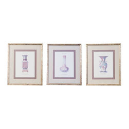 Porcelain Vase Prints - Set of 3 - A charming set of porcelain vase prints. Beautifully framed and ready to hang. Offered as a set of 3. We'd love these in a dressing room or bath.