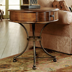 """Hammary - Siena Round Storage End Table in Tuscany Finish - """"Tuscany is a charmed land, equally blessed by the genius of man and nature. Within that blessed place, not far from Florence, sits the historic medieval town of Siena. It is a city of art and architecture, a place of hearty food and friendly people. And within its walls came the inspiration for Hammary's latest groundbreaking design."""
