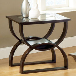 Steve Silver Co. - Dylan End Table in Cherry Finish - Contemporary style. 5mm thick, clear glass tops (not beveled). Bottom shelf for storage. Corner blocked construction. Tongue and groove joints. Made from Ashwood veneer, over MDF and Bentwood. 24 in. W x 22 in. D x 24 in. HThe Dylan Occasional Collection while simple has lots of style. Highlighted by the curves in the base the table tops feature glass inserts. Sure to add interest to any room.