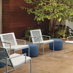 Cruz Chairs & Boyd Ottomans -