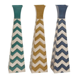 "Benzara - Fascinating Styled Metal Vase 3 Assorted - Introducing beautifully styled zig zag designed metal vase 3 assorted that will brighten up your interiors. Made of quality metal this artistic vase is easy to clean and maintain. The metal vase features zig zag designs half on its exteriors with plain textured bottle neck. This metal vase can be added to your living space or just kept on a table top, side tables else similar other set ups. Each metal vase is polished in different shades; Turquoise, beige and navy blue color with white finishes in common. Guests paying a visit over your place will be surprised to check out this wonderful assorted metal vase. They'll be enticed to add one to their interiors. Besides, this assorted metal vase can also be gifted to your near and dear ones. Get this metal vase right away. Metal Vase 3 Assorted measures 7 inches (Width) x 7 inches (D) x 26 inches (Height) x 3; Made of quality metal; Turquoise, Beige and navy blue color palette; Dimensions: 26""L x 3""W x 11""H"