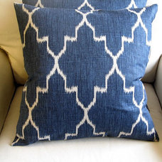 Ikat Indian Blue /TWO pillow covers 20x20 same fabric by yiayias