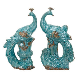Benzara - Ceramic Peacock in Beautiful Aqua Blue Color - Set of 2 - Add sophistication and a royal feel to your formal sitting area with this decorative and magnificent Peacock figurine. This lovely ceramic peacock figurine comes in a set of two and will be an excellent addition to the living room. All your guests are sure to love this artistic blend of ceramic and bright colors. Featuring a beautiful aqua blue color, this peacock figurine is a symbol of happiness and love and will spread positive energy in your room. It is designed with minute details and an intricate design. Made from high quality ceramic material, it flaunts a lovely shine and luster that enlightens the ambience and adds color to the room setting. This is an ideal gift for your near and dear ones.
