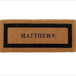 """Personalized Doormat, 24 x 57"""", Black - Our hand-screened doormats make a welcoming statement for guests. Single Wide: 36"""" wide x 22"""" deep x 1.5"""" thick Extra Large: 30"""" x 48"""" x 1.5"""" thick Double Wide: 57"""" wide x 24"""" deep x 1.5"""" thick Border and text can either be black or espresso. Thickly woven of naturally durable coir, a fiber derived from the outer husk of coconut shells. May be personalized at no additional charge. Monogram will be centered on the doormat. Imported."""