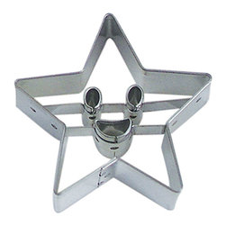 "RM - Star 2.75 In. B0906 - Star cookie cutter 2.75"" across tip to tip. Eyes and mouth cut all the way through. Cutting depth 1"". Heavy duty tinplate steel."