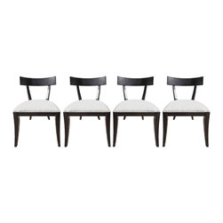 RESTORATION HARDWARE DINING CHAIRS - Once adorning the dining table in a model apartment of the prestigious Manhattan House, these Restoration Hardware dining chairs combine historic sentiments with contemporary zeitgeist. In revive condition, after restaining and professional cleaning, the dark wood and bright white microfiber upholstery will be the seat you are glad you saved.