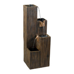 Kenroy Home - Kenroy 50007WDG Timber Indoor/Outdoor Floor Fountain - A rough hewn Wood Grain finish beams with a solid rustic charm on this 3 tiered waterfall.  Simulated copper finish spouts add a detailed hardware that directs water to each level.