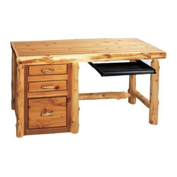 Fireside Lodge Furniture - Cedar File Desk w Keyboard Slide (Right - Liq - Finish: Right - Liquid GlassCedar Collection. 3 Drawers. Wood handles. Dovetailed drawers are inset for added beauty and quality. Full-extension ball-bearing glides rated at 100 lbs.. Client Overhang on backside of desk. Unfinished back. Bottom drawers are set up for hanging file folders for either legal or letter folders. Northern White Cedar logs are hand peeled to accentuate their natural character and beauty. Clear coat catalyzed lacquer finish for extra durability. Liquid glass finish helps prevent scratches and denting in the wood on highly used surfaces. 2-Year limited warranty. 60 in. W x 24 in. D x 30 in. H (140 lbs.)