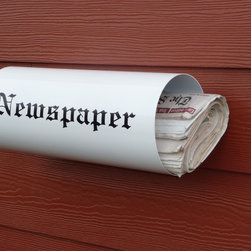 "Newspaper Holder - White ""Rain or Shine"" Newspaper Holder with Sunday's paper."