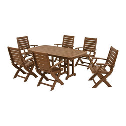 Polywood - 7-Piece Eco-friendly Dining Set in Teak - Solid, heavy-duty construction withstands natures elements. Whether your signature style is laid-back casual or sophisticated elegance, the Polywood Signature 7-Piece Dining Set has just the right amount of class and comfort to fit perfectly into any outdoor living space.