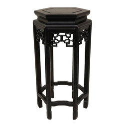 """Oriental Furniture - 20"""" Hexagon Plant Stand - Hand carved, hand crafted reproduction of a classic Ching dynasty design oriental planter stand. In an elegant, eye catching hexagonal shape, with a functional, practical center floating panel, to help tolerate seasonal changes in the moisture content of the fine, kiln dried Rosewood. Perfect for displaying a robust houseplant or an attractive decor accessory."""