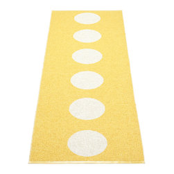 Pappelina - Pappelina Vera Yellow & Vanilla Runner Rug - The weaving takes place in old traditional shuttle weaving looms dating from the 1950's-1970's. Even if parts of the production are performed mechanically, the art of handmade craftsmanship is always present. Each rug is created as close to the original handmade style as possible.