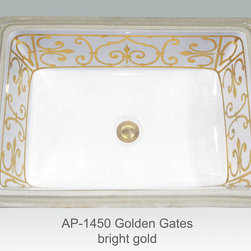 """Hand Painted Undermounts by Atlantis Porcelain - """"GOLDEN GATES BRIGHT GOLD"""" Shown on white Ladena vanity undermount rectangular with overflow center drain I/D (19-1/2""""W x 13-1/4""""D x 6""""depth). Available in bright gold or platinum and burnished gold or platinum on any of our white fixtures."""
