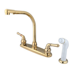 Kingston Brass - 8in. High Arch Kitchen Faucet With Sprayer - This double handle kitchen faucet features an 8in. centerset setup and a goose neck spout that rotates 360 degrees for accessibility and convenience. The handles possess a 1/4-turn on/off mechanism for water volume and temperature control; also includes a 2.2 GPM (8.3 LPM) 60 PSI max rate. The faucet includes a Duraseal washerless cartridge and a removeable aerator for water conservation. The body of the faucet is fabricated in solid brass for durability and reliance. We also provide an assortment of different finishes for stain, scratch and chipping resistance. A 10-year limited warranty is provided to the original customer. White sprayer included.